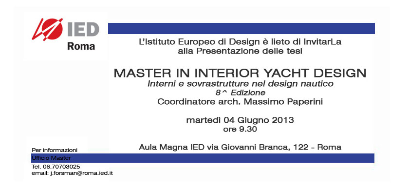 ... day for 8th edition of Master IED - Duck Design - Yacht Designers